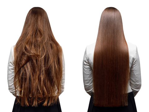 a side by side comparison of a brunette woman with damaged hair and shiny, healthy hair