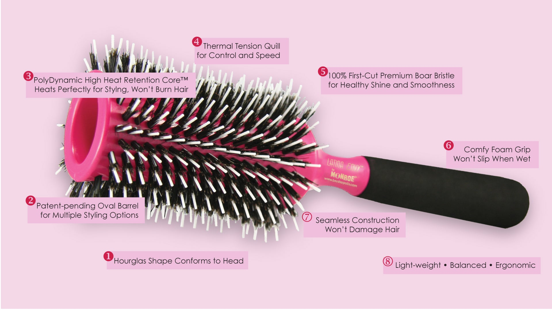 MONROE LATINA ENVY Hourglass Oval Styling Brush