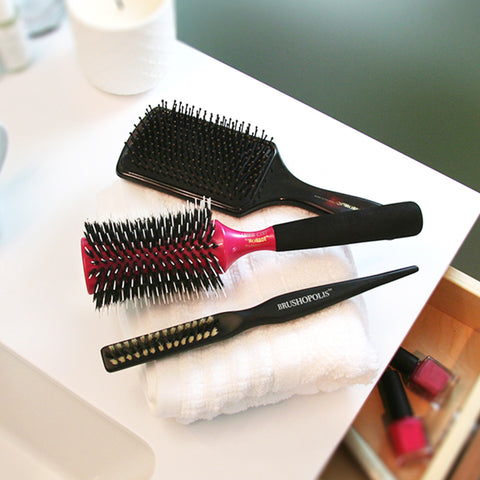 Brushopolis Prepping Paddle Brush, Monroe Latina Envy Hourglass, and Teasedale Classic Brushes