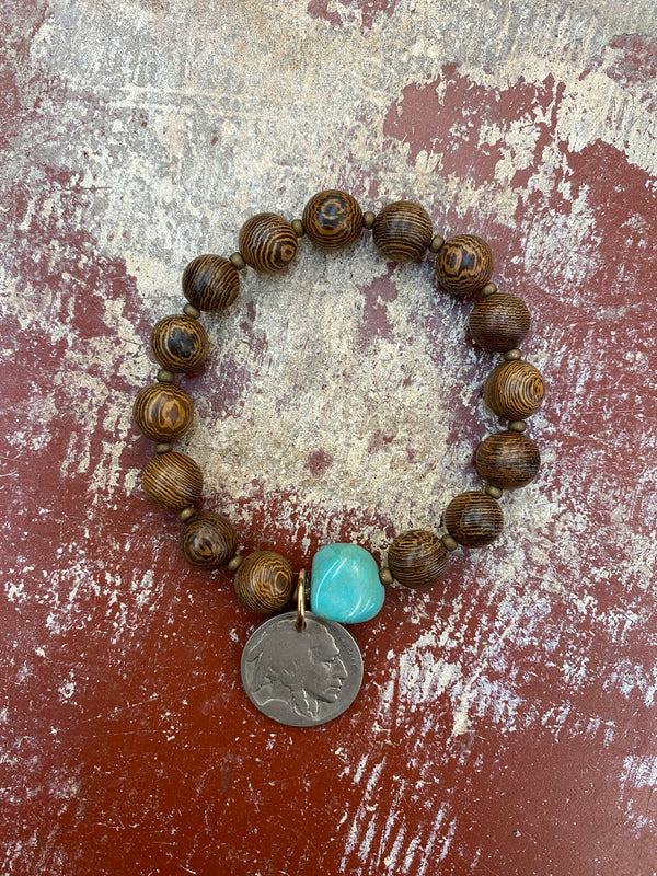 13662-29 Robles Wood w/Turquoise Stacker Bracelet