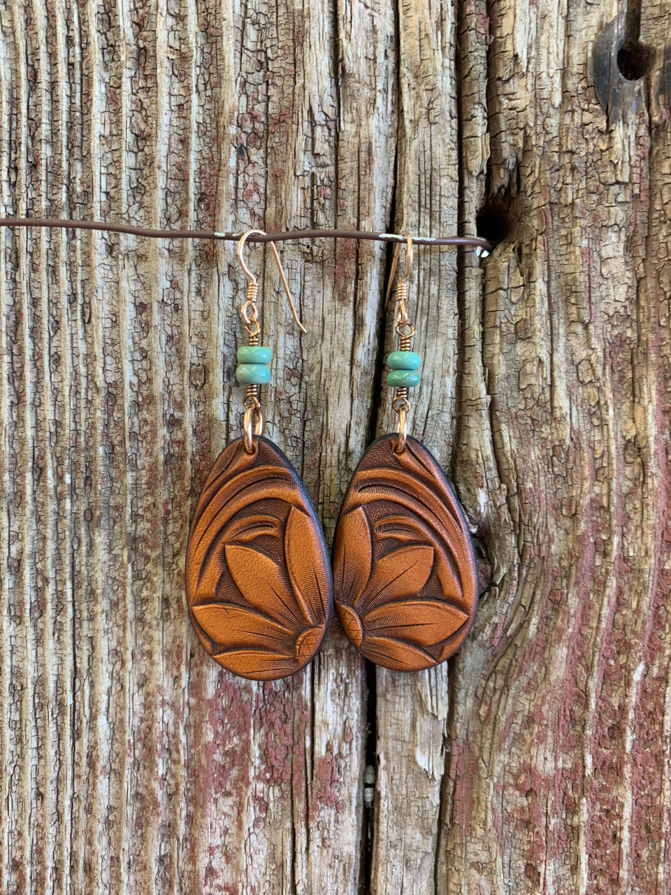 Hand Tooled Leather Sunflower Teardrop Earrings with Turquoise