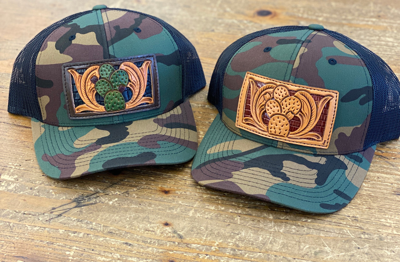 The Prickly Pair Tooled Leather Patch Camo Cap