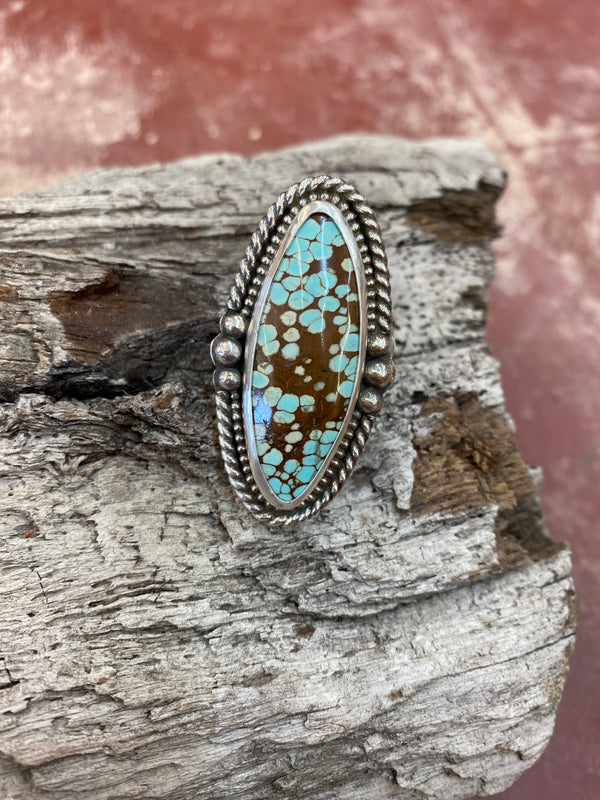 17154 Size 7.5 40ct Old #8 Mine Turquoise & Silver Ring