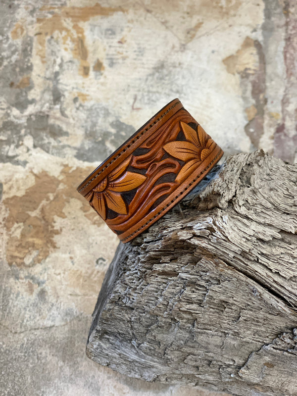 17168 Tri-Tone Hand Tooled Sunflower Cuff
