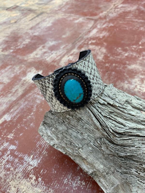 Snake Print Leather Cuff w/30ct Bisbee Turquoise