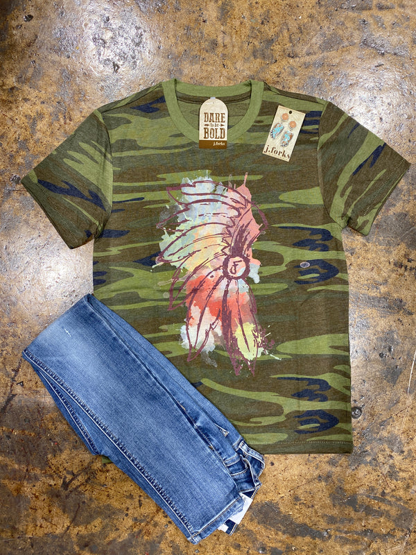 1118 Camo Watercolor Headdress Tee