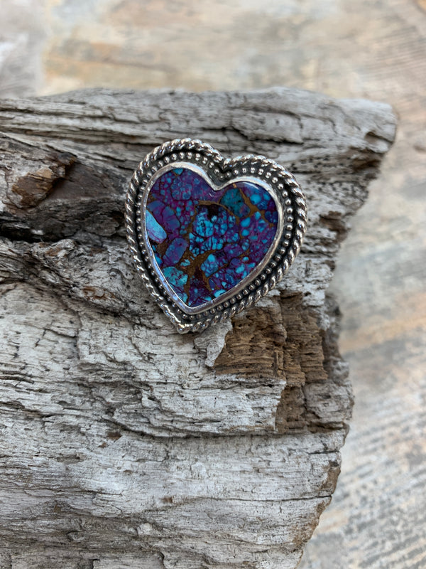 16990 Size 8 35ct Purple Mohave Kingman Turquoise Heart Ring