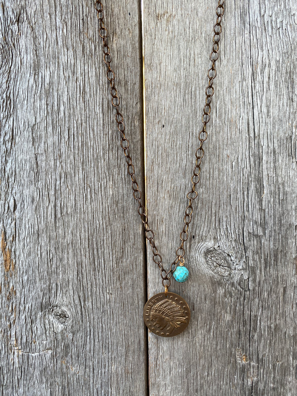 17282 Dk Bronze Chain w/Turquoise & Indian Coin