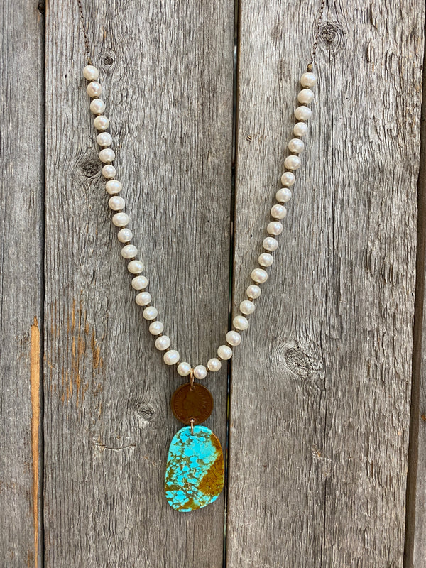 17136 Pearls, Indian Penny, & Kingman Turquoise Slab Drop