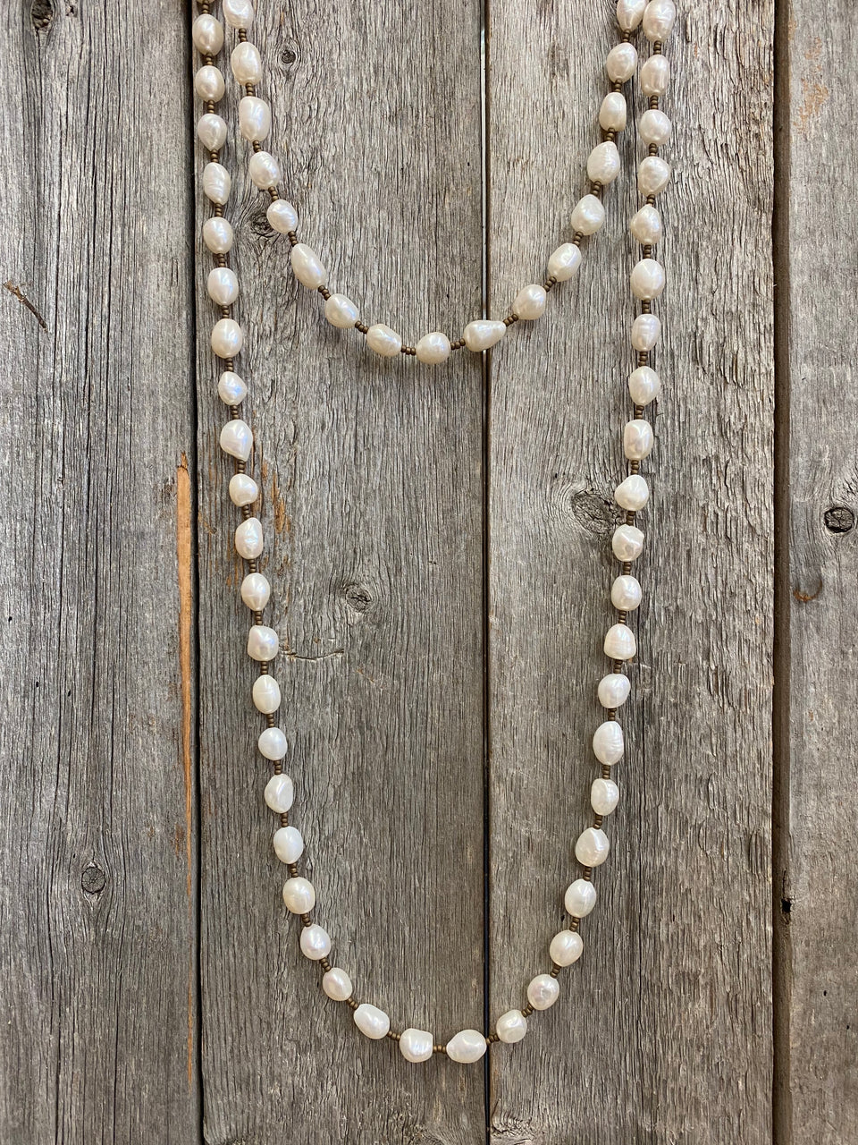 "16995 50"" Pearl & Bronze Wrap Necklace"