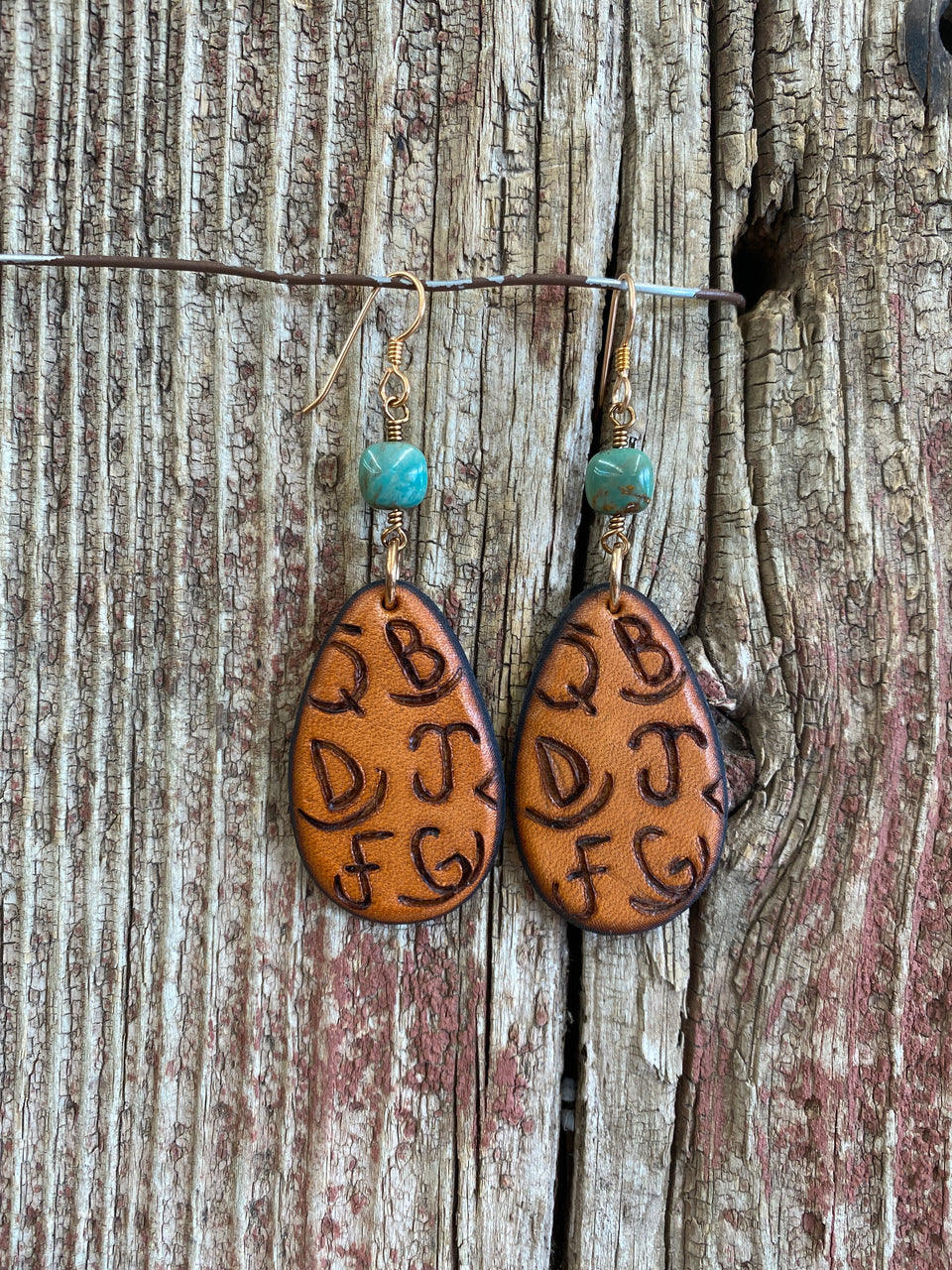 17148 Branded Brand Leather Teardrop & Kingman Turquoise Earrings