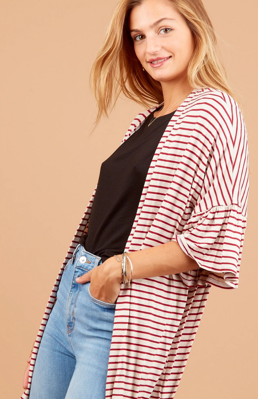 Red Stripe Ruffle Sleeve Cardigan