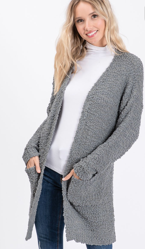 Cozy Soft Popcorn Cardigan in Grey