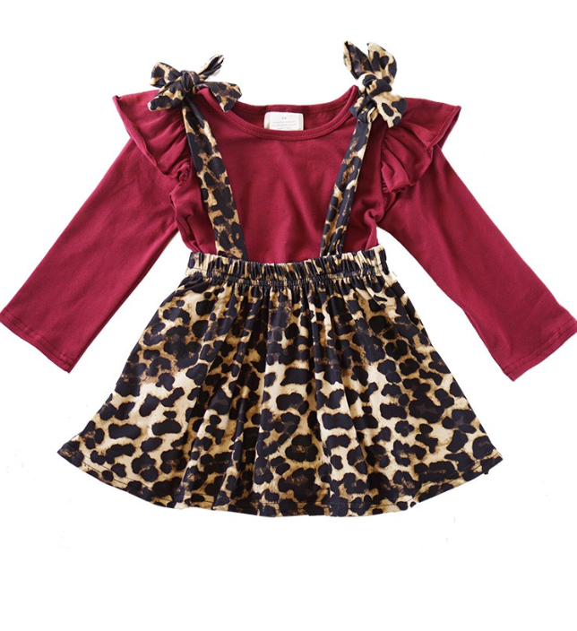 Kids Maroon shirt leopard suspender skirt 2 piece set