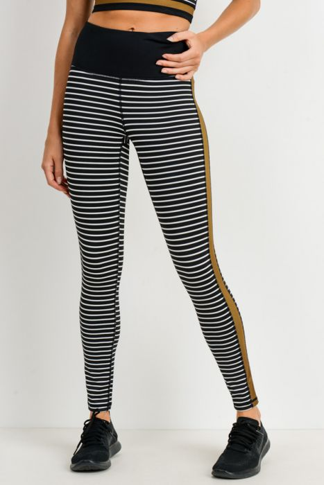 Warpony Striped and Colorblocked Highwaist Leggings