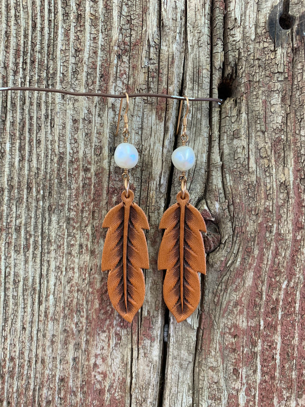 14089 Leather Feather & Stone Earring