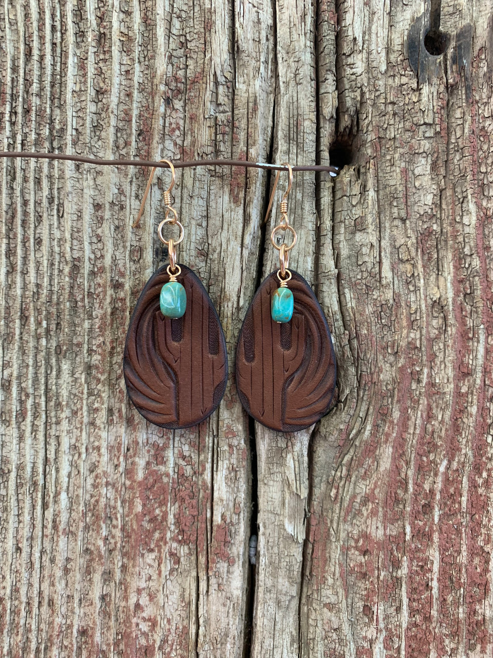 16108 Teardrop Leather Saguaro & Turq Earrings