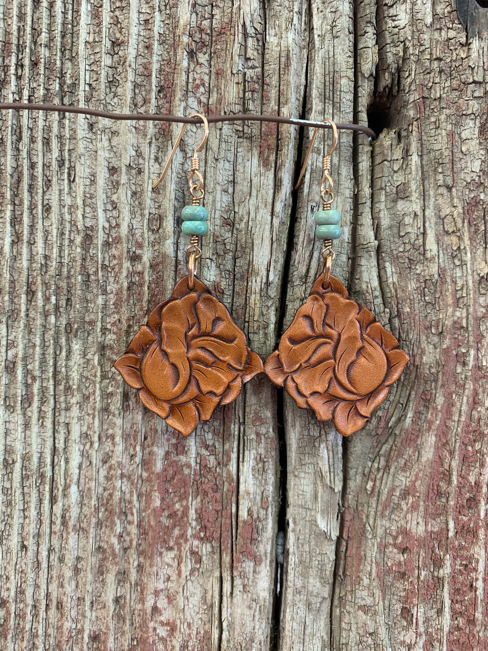 J.Forks Designs Hand Tooled Leather Side Drop Rose Earrings with Turquoise