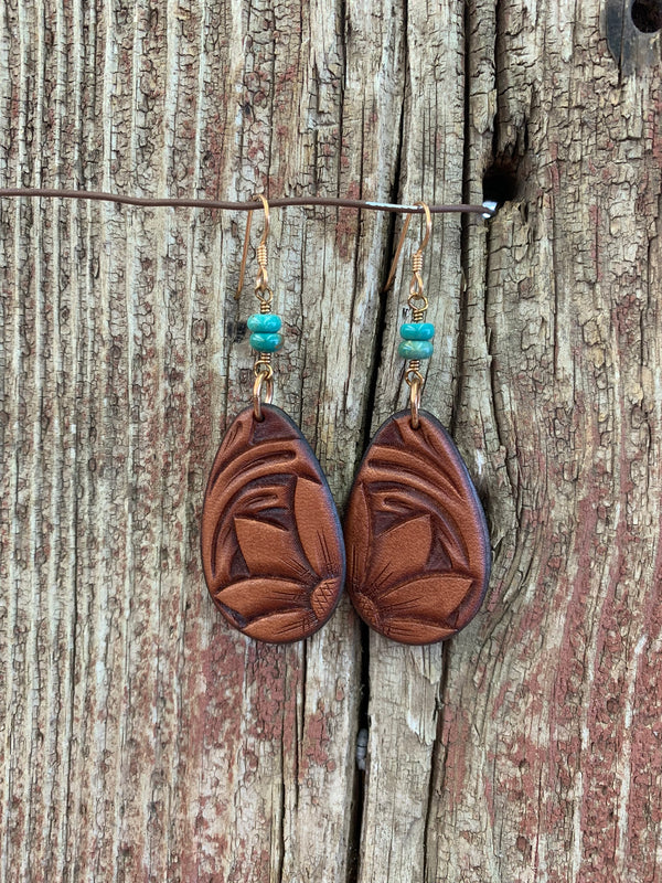 16595 Chestnut Tooled Leather Teardrop w/Turq Earring