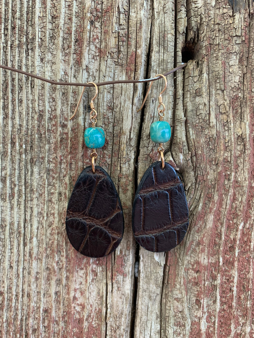 J.Forks Designs American Alligator Teardrops and Turquoise Earrings with Solid Bronze French Wires.