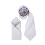 Mens Silver Grey Luxury Satin Neck Tie with Pocket Square - Formal Saints ltd