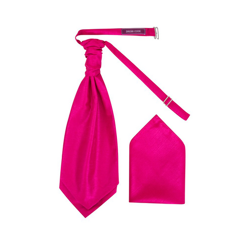 Mens Fuchsia Pink Luxury Dupion Scrunchie Cravat with Pocket Square - Formal Saints ltd