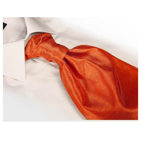 Coral Orange Hand Tie Self Tie Cravat Dupion Vintage Finish & Hanky Set - Formal Saints Ltd - Luxury Tie Specialist