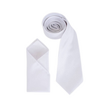 Mens White Luxury Satin Neck Tie with Pocket Square - Formal Saints ltd