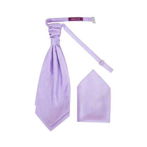 Mens Lilac Luxury Dupion Scrunchie Cravat with Pocket Square - Formal Saints ltd