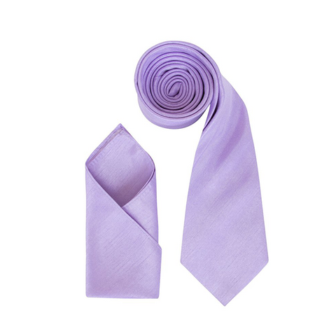 Mens Lilac Luxury Dupion Neck Tie with Pocket Square - Formal Saints ltd