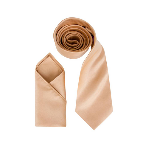 Mens Antique Gold Luxury Satin Neck Tie with Pocket Square - Formal Saints ltd
