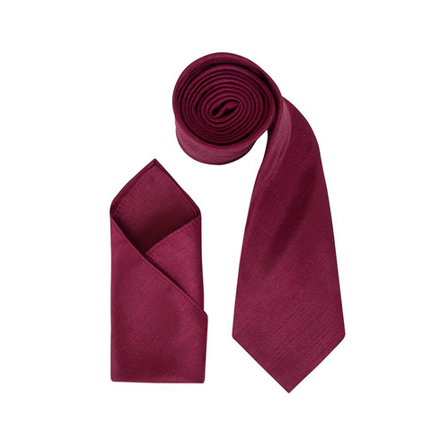 Mens Maroon Luxury Dupion Neck Tie with Pocket Square - Formal Saints ltd