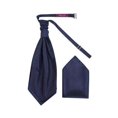 Mens Dark Navy Blue Luxury Dupion Scrunchie Cravat with Pocket Square - Formal Saints ltd