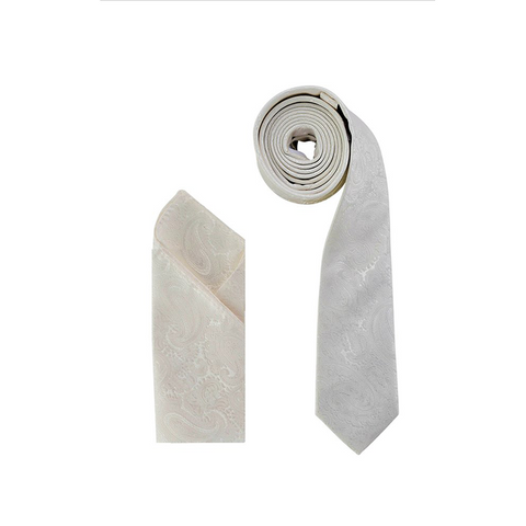 Luxury Premium Ivory Damascus Paisley Woven Neck Tie & Handkerchief Set - Formal Saints ltd