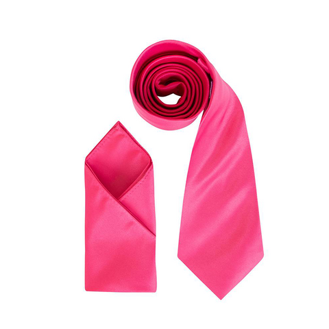 Mens Cherry Pink Luxury Satin Neck Tie with Pocket Square - Formal Saints ltd