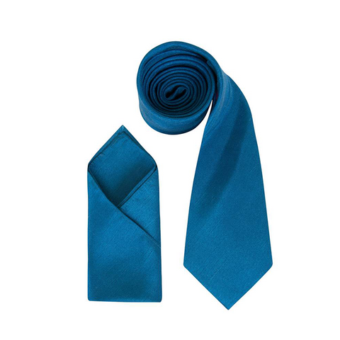 Mens Teal Blue Luxury Dupion Neck Tie with Pocket Square - Formal Saints ltd