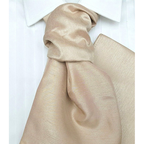 Light Gold Hand Tie Self Tie Cravat Dupion Vintage Finish & Hanky Set - Formal Saints Ltd - Luxury Tie Specialist