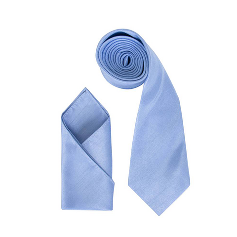 Mens Sky Blue Luxury Dupion Neck Tie with Pocket Square - Formal Saints ltd