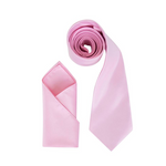 Mens Baby Pink Luxury Satin Neck Tie with Pocket Square - Formal Saints ltd