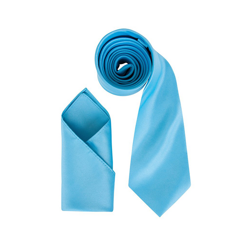 Mens Turquoise Luxury Satin Neck Tie with Pocket Square - Formal Saints ltd