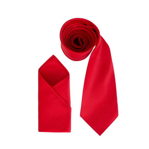 Mens Red Luxury Satin Neck Tie with Pocket Square - Formal Saints Ltd - Luxury Tie Specialist