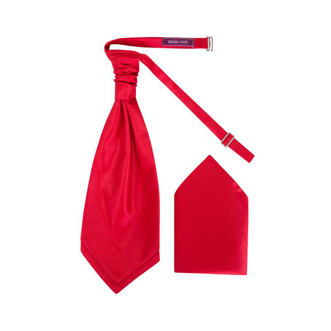Mens Red Luxury Dupion Scrunchie Cravat with Pocket Square - Formal Saints ltd