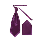 Mens Plum Purple Luxury Satin Scrunchie Cravat with Pocket Square - Formal Saints ltd