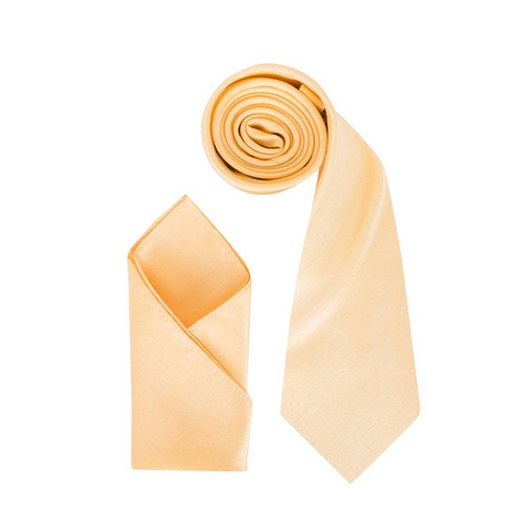 Mens Yellow Gold Luxury Dupion Neck Tie with Pocket Square - Formal Saints ltd