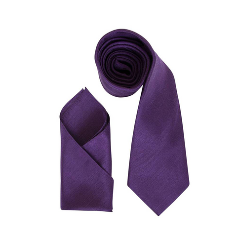Mens Plum Purple Luxury Dupion Neck Tie with Pocket Square - Formal Saints ltd