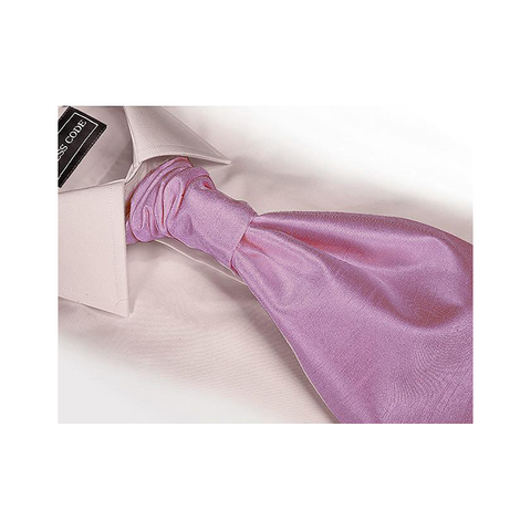 Light Lilac Hand Tie Self Tie Cravat Dupion Vintage Finish & Hanky Set - Formal Saints ltd