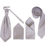 Men's Silver/Grey Dupion Cravat or Skinny Neck Tie With Handkerchief Set - Formal Saints ltd