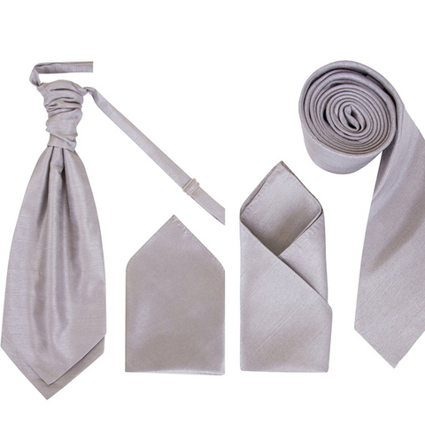 Men's Silver/Grey Dupion Cravat or Skinny Neck Tie With Handkerchief Set - Formal Saints Ltd - Luxury Tie Specialist