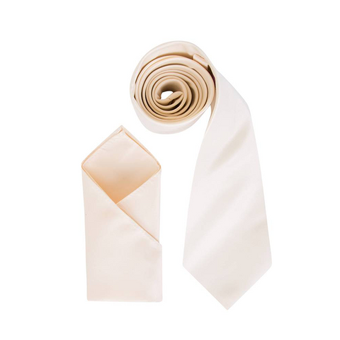 Mens Egg Shell Cream Luxury Satin Neck Tie with Pocket Square - Formal Saints ltd
