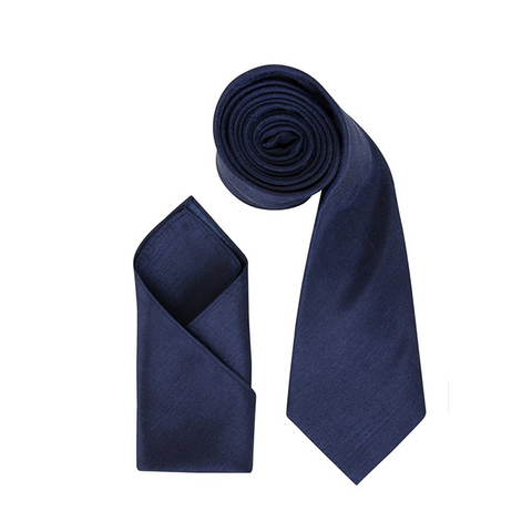 Mens Dark Navy Blue Luxury Dupion Neck Tie with Pocket Square - Formal Saints ltd